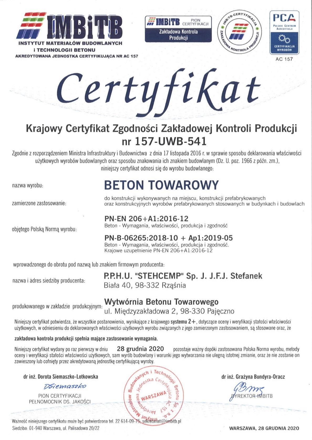 Certyfikat 157-UWB-541 B wyd 1 2020